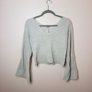free people bell sleeve textured knit top size s